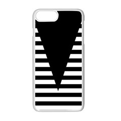 Black & White Stripes Big Triangle Apple Iphone 7 Plus White Seamless Case
