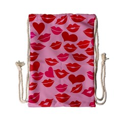 Valentine s Day Kisses Drawstring Bag (small)