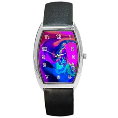 The Perfect Wave Pink Blue Red Cyan Barrel Style Metal Watch