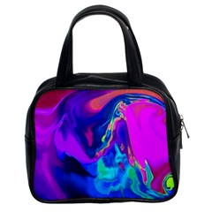 The Perfect Wave Pink Blue Red Cyan Classic Handbags (2 Sides)