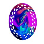 The Perfect Wave Pink Blue Red Cyan Ornament (Oval Filigree)  Front