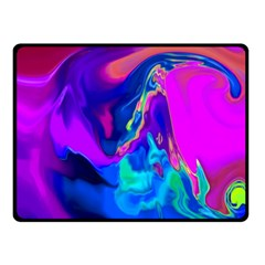 The Perfect Wave Pink Blue Red Cyan Double Sided Fleece Blanket (small)