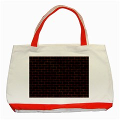 Brick1 Black Marble & Brown Marble Classic Tote Bag (red)