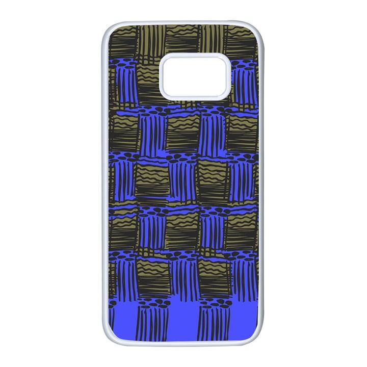Basket Weave Samsung Galaxy S7 White Seamless Case