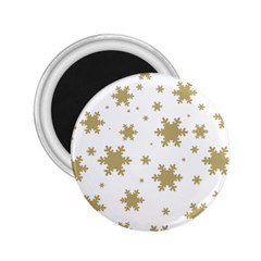 Gold Snow Flakes Snow Flake Pattern 2 25  Magnets