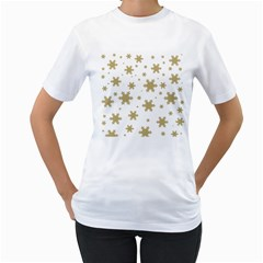 Gold Snow Flakes Snow Flake Pattern Women s T Shirt (white) (two Sided)