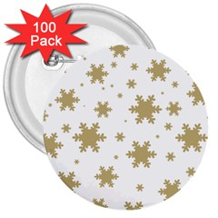 Gold Snow Flakes Snow Flake Pattern 3  Buttons (100 Pack)