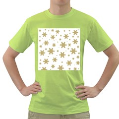 Gold Snow Flakes Snow Flake Pattern Green T Shirt