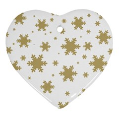 Gold Snow Flakes Snow Flake Pattern Heart Ornament (2 Sides)