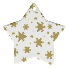 Gold Snow Flakes Snow Flake Pattern Star Ornament (two Sides)