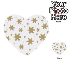 Gold Snow Flakes Snow Flake Pattern Multi-purpose Cards (Heart)