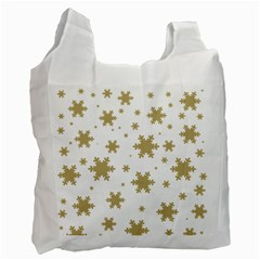Gold Snow Flakes Snow Flake Pattern Recycle Bag (one Side)