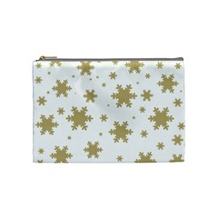 Gold Snow Flakes Snow Flake Pattern Cosmetic Bag (medium)