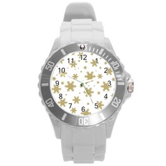 Gold Snow Flakes Snow Flake Pattern Round Plastic Sport Watch (l)