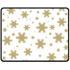 Gold Snow Flakes Snow Flake Pattern Double Sided Fleece Blanket (medium)