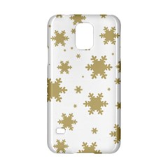 Gold Snow Flakes Snow Flake Pattern Samsung Galaxy S5 Hardshell Case