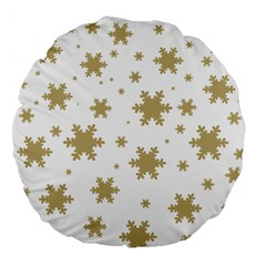 Gold Snow Flakes Snow Flake Pattern Large 18  Premium Flano Round Cushions