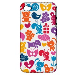 Digital Scrapbook Paper Vintage Backgrounds And Animales Apple Iphone 4/4s Hardshell Case (pc+silicone)