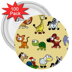 Group Of Animals Graphic 3  Buttons (100 Pack)