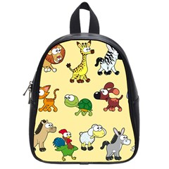 Group Of Animals Graphic School Bags (small)