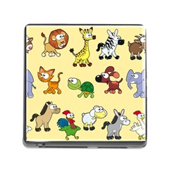 Group Of Animals Graphic Memory Card Reader (square)