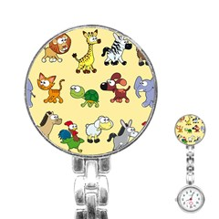 Group Of Animals Graphic Stainless Steel Nurses Watch