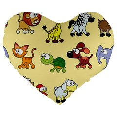 Group Of Animals Graphic Large 19  Premium Flano Heart Shape Cushions