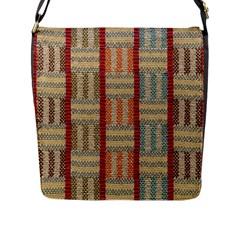 Fabric Pattern Flap Messenger Bag (l)
