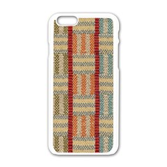 Fabric Pattern Apple Iphone 6/6s White Enamel Case