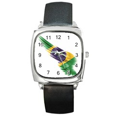 Flag Of Brazil Square Metal Watch