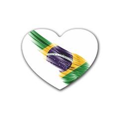 Flag Of Brazil Rubber Coaster (heart)