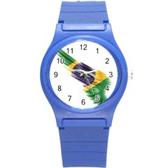 Flag Of Brazil Round Plastic Sport Watch (s)