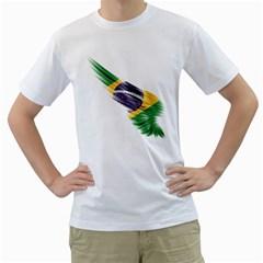 Flag Of Brazil Men s T Shirt (white)