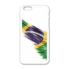 Flag Of Brazil Apple Iphone 6/6s White Enamel Case