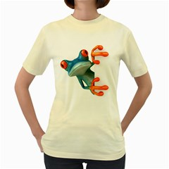 Tree Frog Illustration Women s Yellow T Shirt