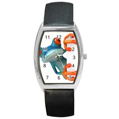 Tree Frog Illustration Barrel Style Metal Watch