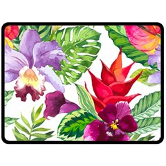 Vector Pattern Tropical Double Sided Fleece Blanket (large)