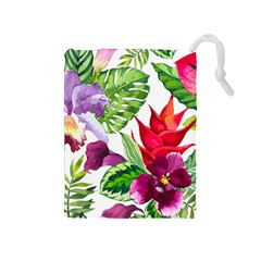 Vector Pattern Tropical Drawstring Pouches (medium)