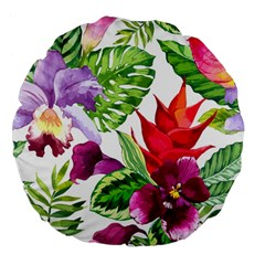 Vector Pattern Tropical Large 18  Premium Flano Round Cushions