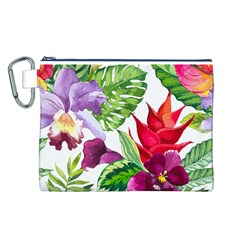 Vector Pattern Tropical Canvas Cosmetic Bag (l)