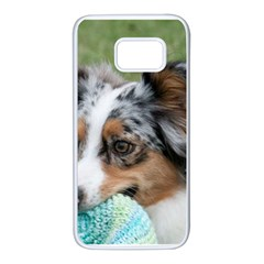 Blue Merle Miniature American Shepherd Samsung Galaxy S7 White Seamless Case
