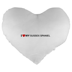 I Love My Sussex Spaniel Large 19  Premium Heart Shape Cushions