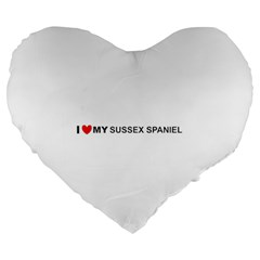 I Love My Sussex Spaniel Large 19  Premium Flano Heart Shape Cushions