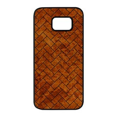Brick2 Black Marble & Brown Marble Samsung Galaxy S7 Edge Black Seamless Case