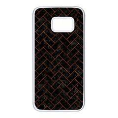 Brick2 Black Marble & Brown Marble (r) Samsung Galaxy S7 White Seamless Case