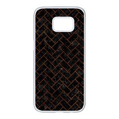 Brick2 Black Marble & Brown Marble (r) Samsung Galaxy S7 Edge White Seamless Case