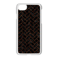 Brick2 Black Marble & Brown Marble (r) Apple Iphone 7 Seamless Case (white)