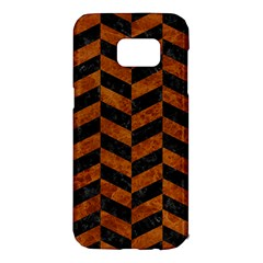 Chevron1 Black Marble & Brown Marble Samsung Galaxy S7 Edge Hardshell Case