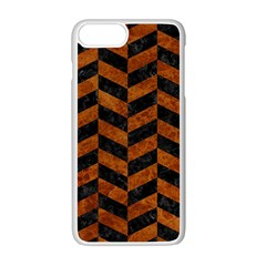 Chevron1 Black Marble & Brown Marble Apple Iphone 7 Plus White Seamless Case