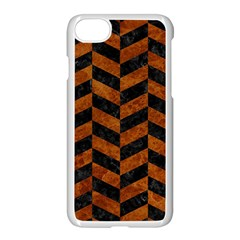 Chevron1 Black Marble & Brown Marble Apple Iphone 7 Seamless Case (white)